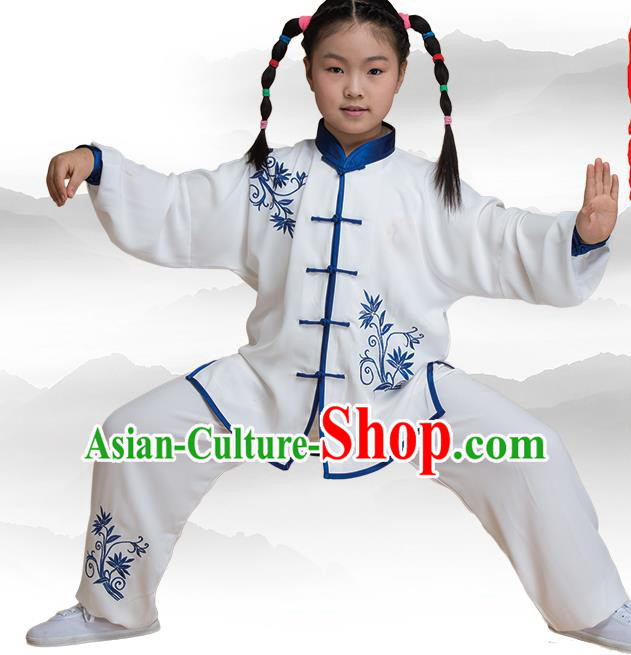 Traditional Chinese Kung Fu Embroidered Blue Uniform Costume, China Martial Arts Tai Ji Clothing for Kids