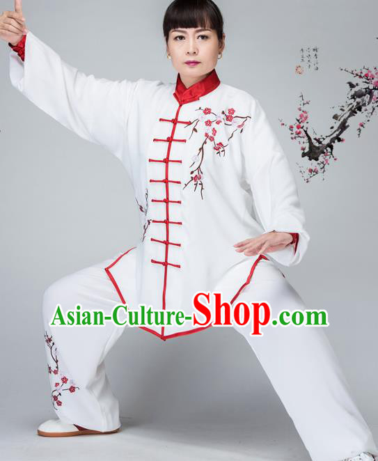 Traditional Chinese Kung Fu Embroidered Costume, China Martial Arts Red Uniform Tai Ji Tang Suit Plated Buttons Clothing for Women
