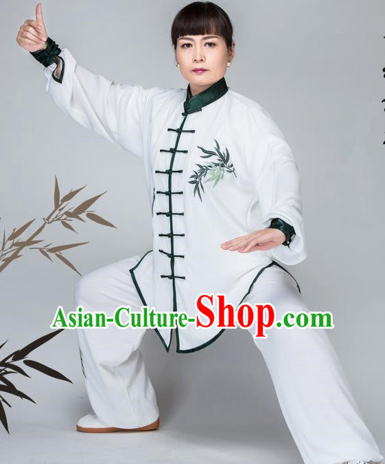 Traditional Chinese Kung Fu Embroidered Costume, China Martial Arts Green Uniform Tai Ji Tang Suit Plated Buttons Clothing for Women