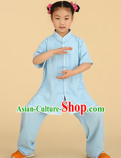 Chinese Kung Fu Linen Plated Buttons Costume, Traditional Martial Arts Tai Ji Blue Uniform for Kids