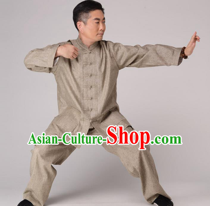 Traditional Chinese Kung Fu Khaki Linen Costume, China Martial Arts Uniform Tai Ji Tang Suit Plated Buttons Clothing for Men