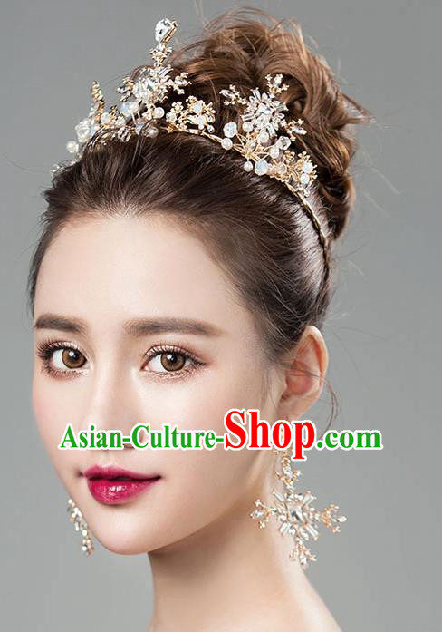 Chinese Traditional Bride Hair Jewelry Accessories Baroque Princess Wedding Crystal Snowflake Royal Crown for Women