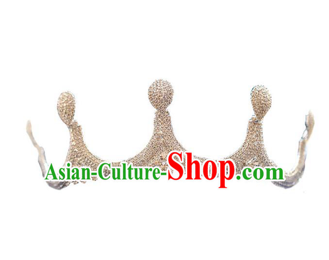 Chinese Traditional Bride Hair Accessories Baroque Princess Wedding Crystal Jewelry Royal Crown for Women