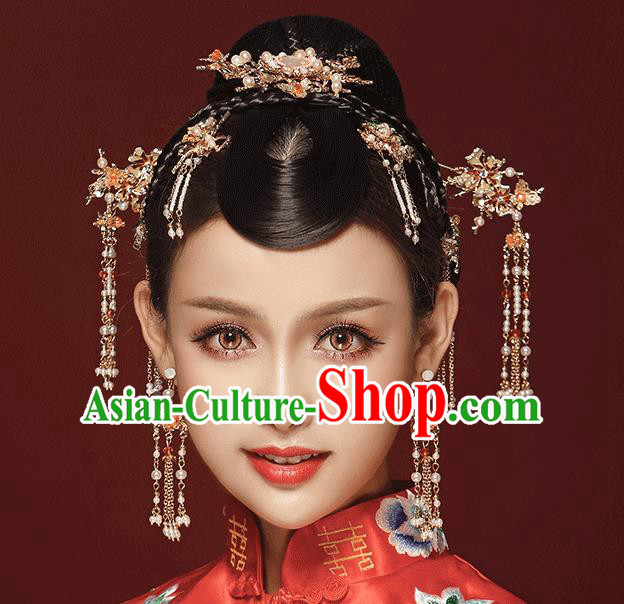 Chinese Traditional Bride Hair Jewelry Accessories Palace Xiuhe Suit Phoenix Coronet Wedding Tassel Headwear for Women