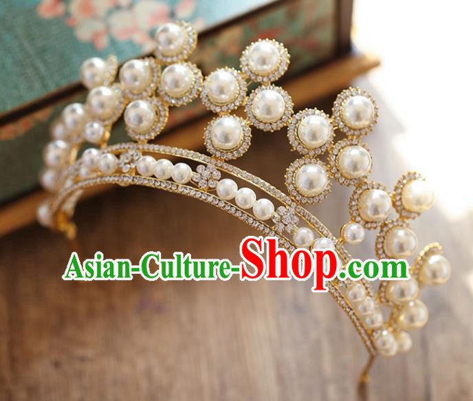 Chinese Traditional Bride Hair Accessories Baroque Princess Hair Clasp Wedding Crystal Pearls Royal Crown for Women