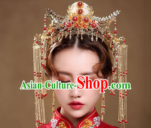 Chinese Traditional Bride Hair Jewelry Accessories Xiuhe Suit Tassel Hairpins Headwear Wedding Phoenix Coronet for Women