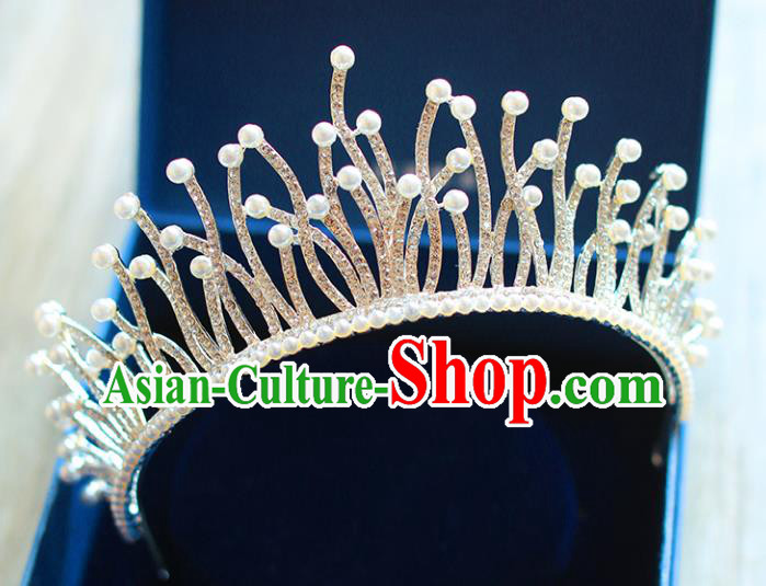 Chinese Traditional Hair Accessories Baroque Bride Hair Clasp Wedding Princess Pearls Crystal Royal Crown for Women