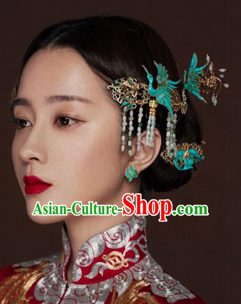 Chinese Traditional Bride Hair Accessories Headwear Xiuhe Suit Palace Phoenix Step Shake Wedding Hairpins for Women