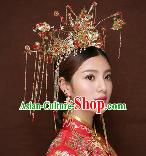 Chinese Traditional Bride Hair Accessories Xiuhe Suit Step Shake Wedding Hairpins Tassel Phoenix Coronet for Women