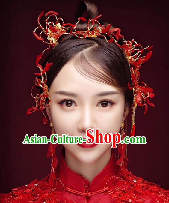 Chinese Traditional Bride Hair Accessories Xiuhe Suit Hair Comb Wedding Tassel Hairpins Complete Set for Women