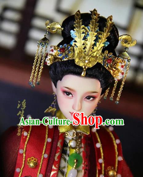Chinese Traditional Silk Figurine Doll Hair Accessories Flowers Hairpins Ancient Han Dynasty Queen Phoenix Coronet Headwear