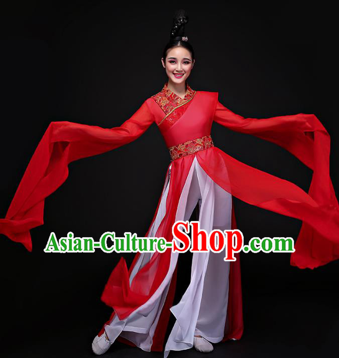 Traditional Chinese Ancient Palace Lady Dance Clothing Classical Dance Embroidered Red Dress Costume for Women