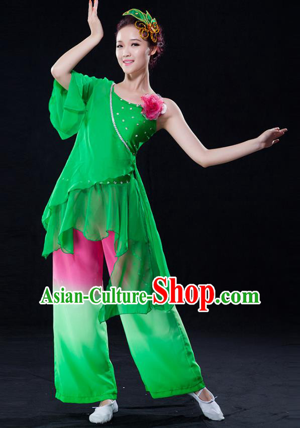 2b02368a2 Traditional Chinese Classical Yangge Fan Dance Green Costume