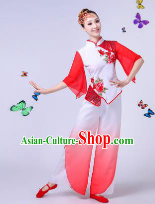 Traditional Chinese Classical Umbrella Dance White Costume, China Yangko Folk Fan Dance Clothing for Women