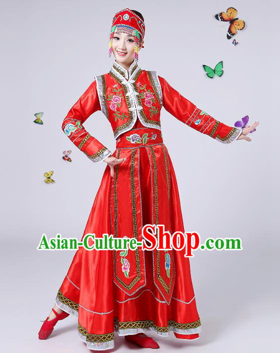 Traditional Chinese Mongol Nationality Dance Costume, China Folk Dance Mongolian Minority Embroidery Red Dress for Women
