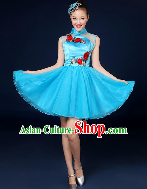 Traditional Chinese Modern Dance Opening Dance Clothing Chorus Classical Dance Blue Short Bubble Dress for Women