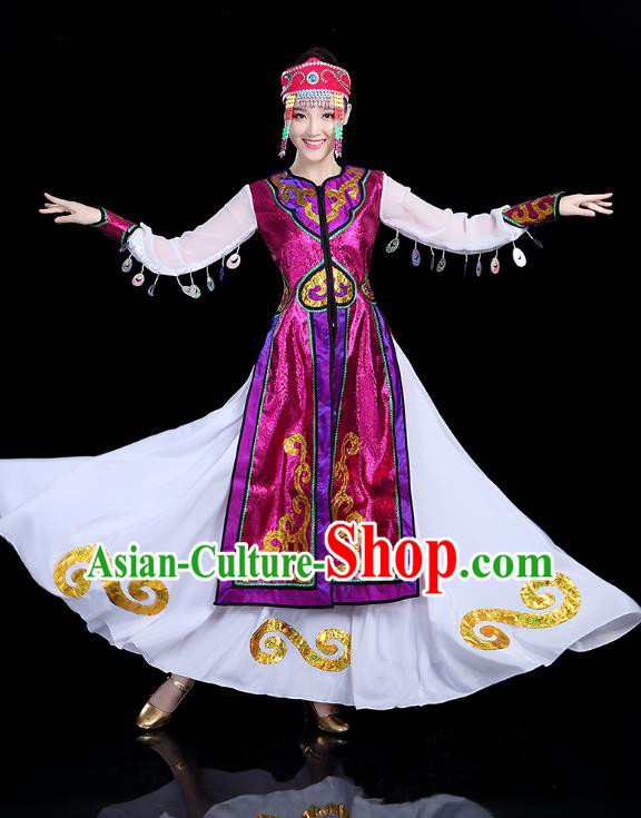 Traditional Chinese Mongol Nationality Dance Costume, Chinese Mongolian Minority Folk Dance Embroidery Clothing for Women
