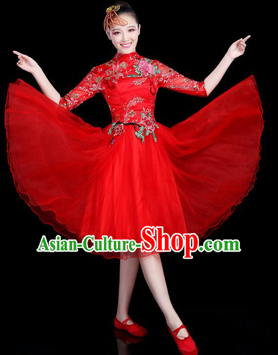 Traditional Chinese Modern Dance Opening Dance Clothing Chorus Competition Red Veil Bubble Dress for Women