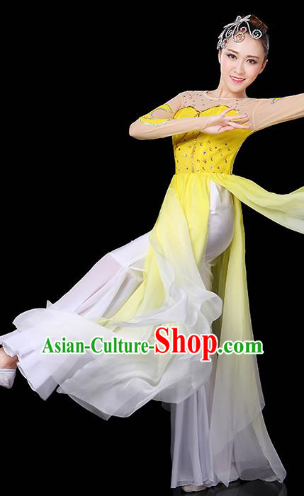 Traditional Chinese Modern Dance Opening Dance Clothing Chorus Yangko Fan Dance Yellow Dress for Women