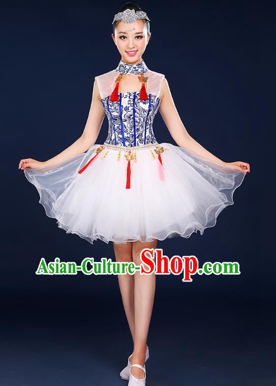 Traditional Chinese Modern Dance Opening Dance Clothing Chorus Classical Dance Short Bubble Dress for Women