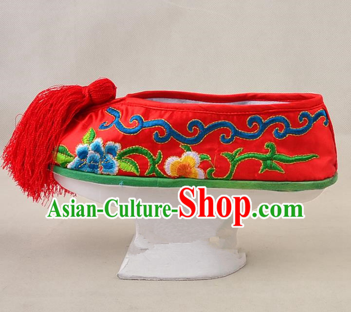 Asian Chinese Beijing Opera Actress Red Embroidered Shoes, Traditional China Peking Opera Diva Hanfu Manchu Shoes