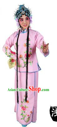 Chinese Beijing Opera Actress Embroidered Peony Costume, China Peking Opera Servant Girl Embroidery Pink Clothing