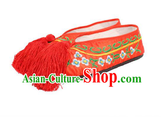 Asian Chinese Beijing Opera Actress Red Embroidered Shoes, Traditional China Peking Opera Diva Hanfu Shoes