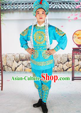 Chinese Beijing Opera Takefu Embroidered Lake Blue Costume, China Peking Opera Soldier Embroidery Clothing