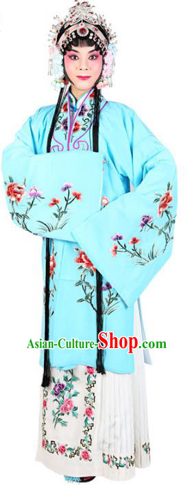Chinese Beijing Opera Actress Embroidered Peony Costume, Traditional China Peking Opera Diva Embroidery Light Blue Clothing