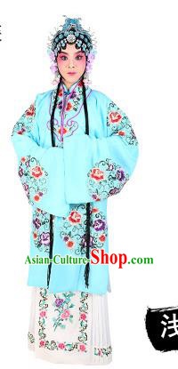 Chinese Beijing Opera Young Lady Embroidered Peony Costume, China Peking Opera Actress Embroidery Light Blue Clothing