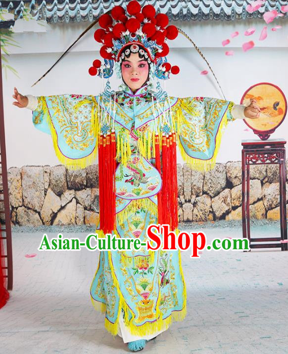Chinese Beijing Opera Swordplay Embroidered Costume, China Peking Opera Blues Warriors Embroidery Clothing