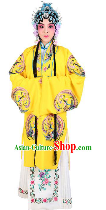 Chinese Beijing Opera Actress Costume Yellow Embroidered Cape, China Peking Opera Diva Embroidery Clothing