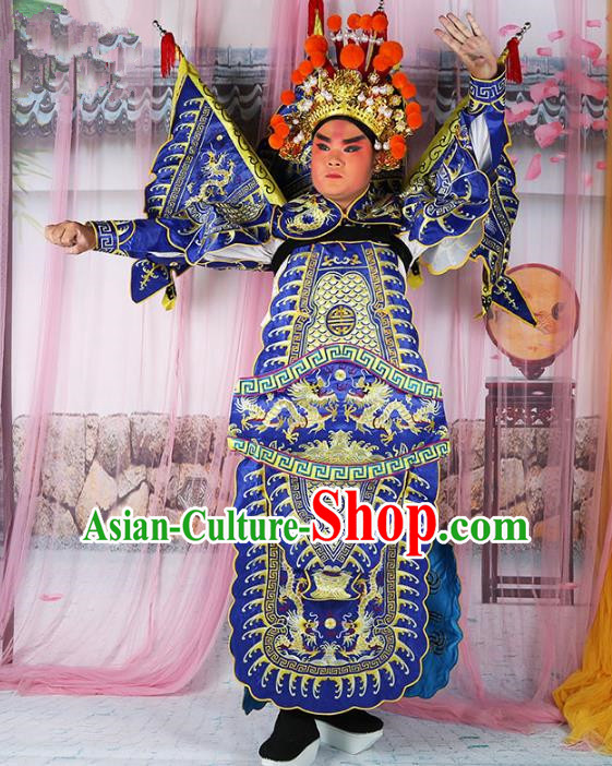 Chinese Beijing Opera General Costume Blue Embroidered Robe, China Peking Opera Warrior Embroidery Gwanbok Clothing