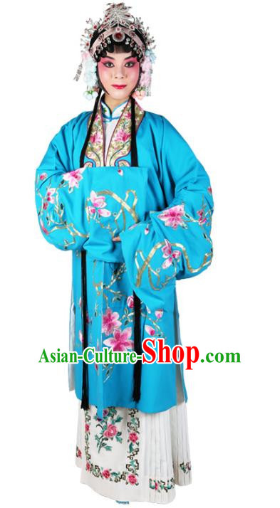 Chinese Beijing Opera Actress Embroidered Flowers Blue Costume, China Peking Opera Diva Embroidery Clothing