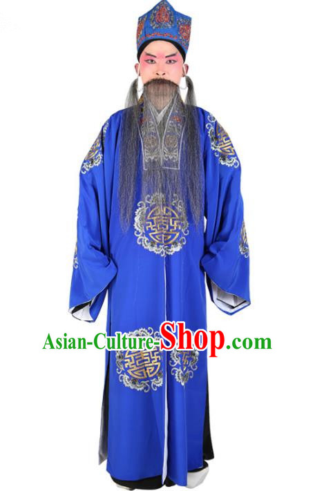 Chinese Beijing Opera Old Men Costume Embroidered Robe, China Peking Opera Ministry Councillor Clothing