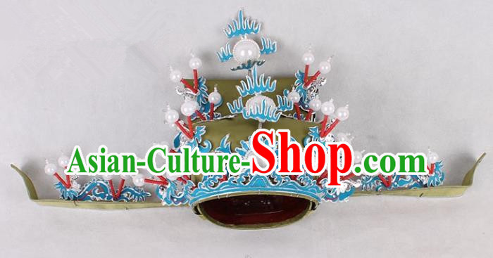 Asian Chinese Beijing Opera Prime Minister Green Hat, Traditional China Peking Opera Royal Highness Hats Headwear