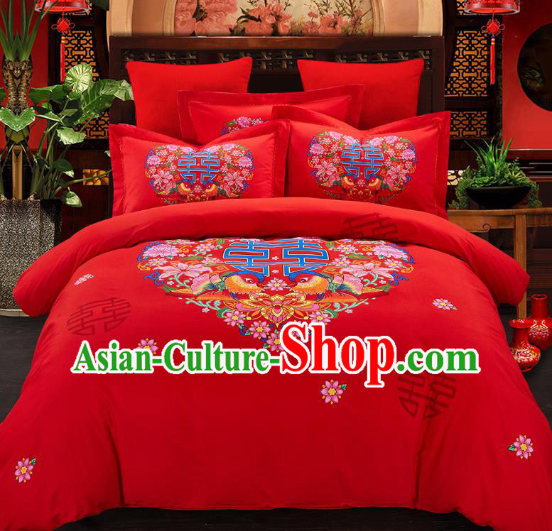 Traditional Chinese Style Wedding Bedding Set, China National Marriage Printing Mandarin Duck Red Textile Bedding Sheet Quilt Cover Complete Set