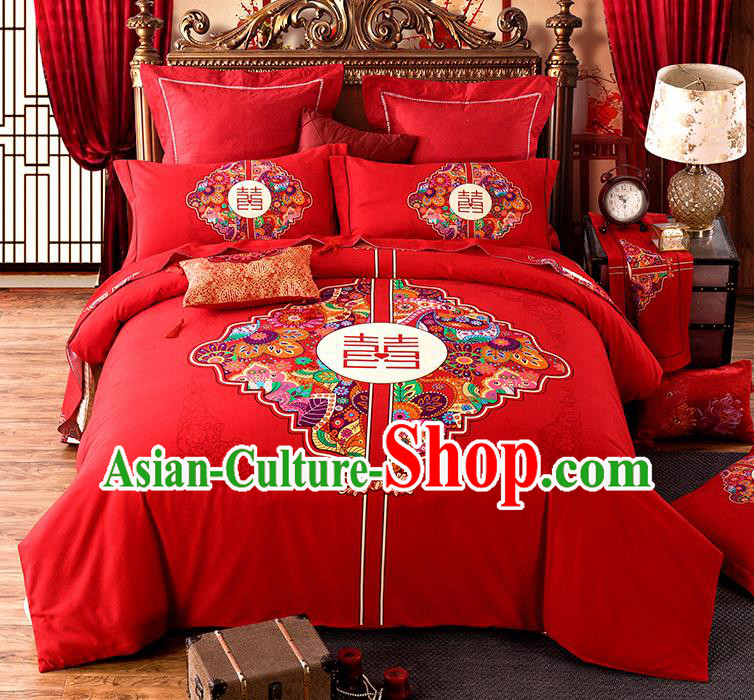 Traditional Chinese Style Wedding Bedding Set, China National Marriage Printing Happy Character Flowers Red Textile Bedding Sheet Quilt Cover Complete Set
