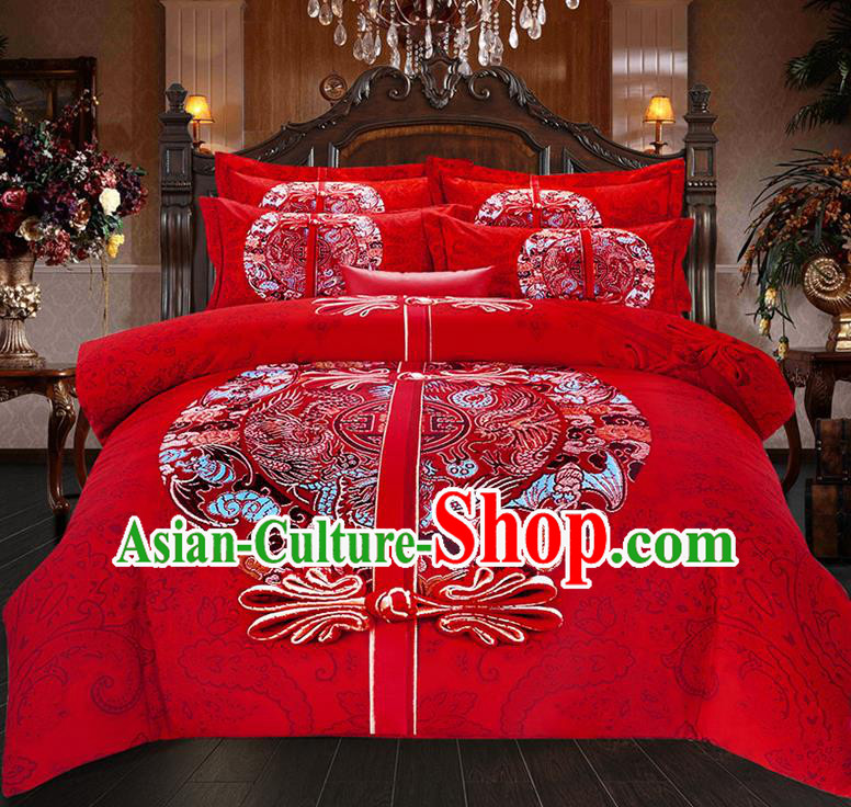 Traditional Chinese Style Wedding Bedding Set, China National Marriage Printing Plated Buttons Red Textile Bedding Sheet Quilt Cover Seven-piece suit