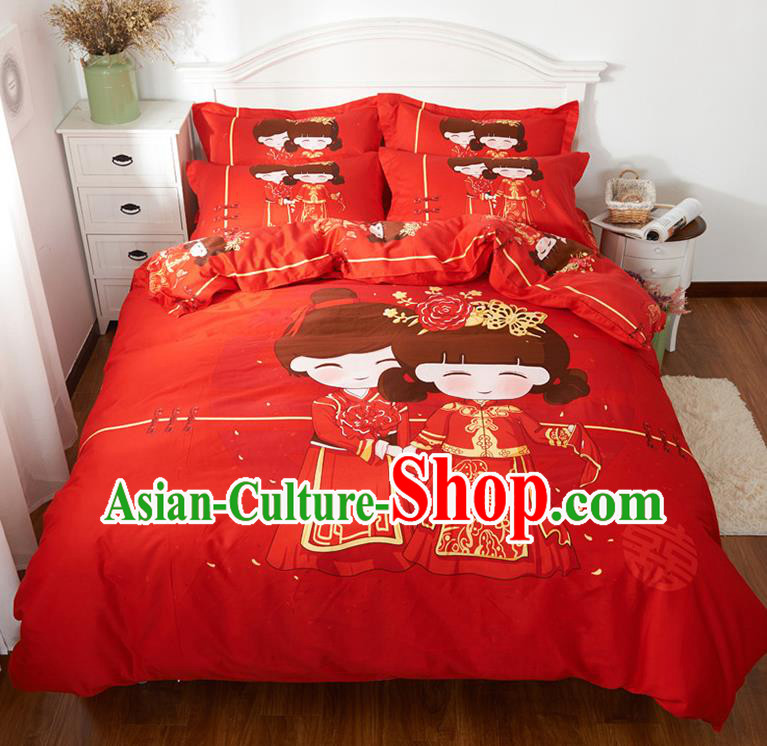 Traditional Chinese Style Wedding Bedding Set, China National Marriage Printing Bride Red Textile Bedding Sheet Quilt Cover Seven-piece suit