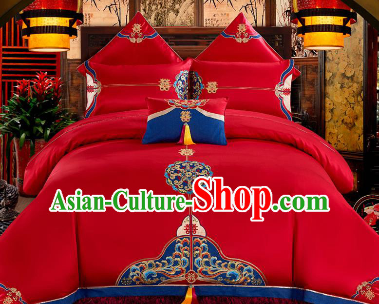 Traditional Chinese Style Wedding Bedding Set, China National Marriage Printing Red Textile Bedding Sheet Quilt Cover Four-piece suit