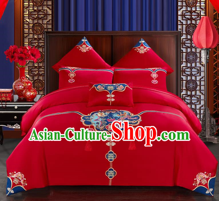 Traditional Chinese Style Wedding Bedding Set, China National Marriage Printing Twin Bliss Red Textile Bedding Sheet Quilt Cover Seven-piece suit
