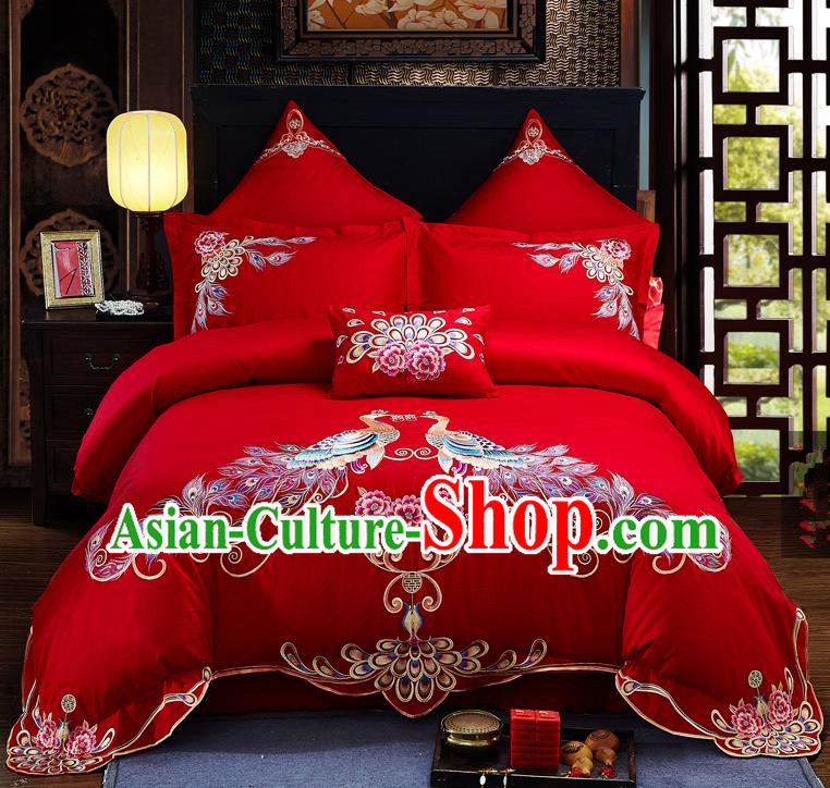 Traditional Chinese Style Wedding Bedding Set, China National Marriage Embroidery Peacock Red Textile Bedding Sheet Quilt Cover Seven-piece suit