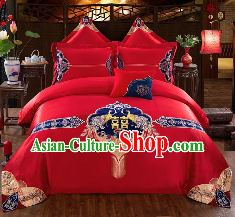 Traditional Chinese Style Wedding Bedding Set, China National Marriage Printing Peacock Red Textile Bedding Sheet Quilt Cover Seven-piece suit