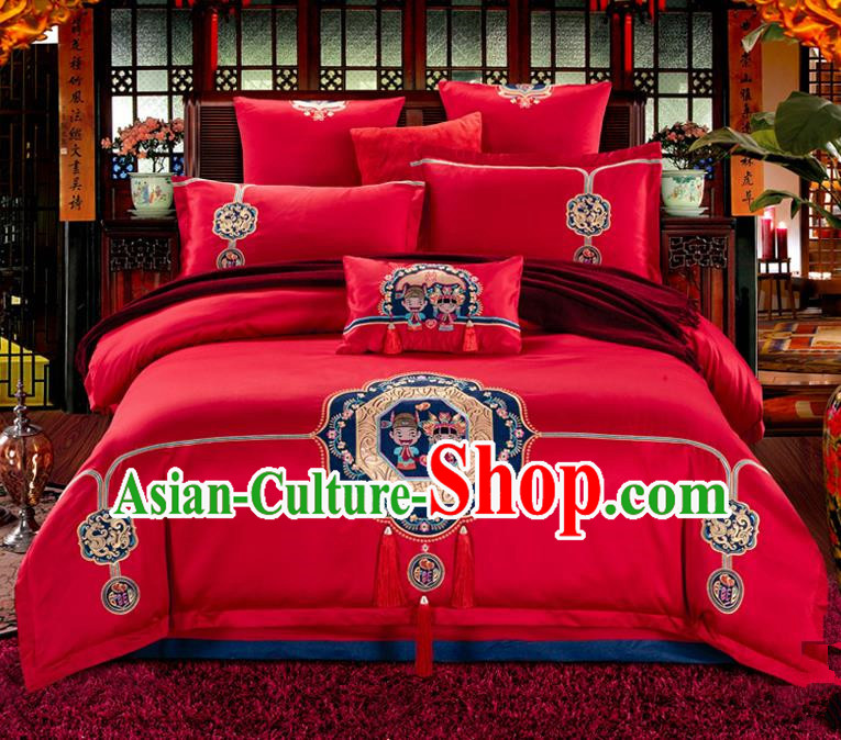 Traditional Chinese Style Wedding Bedding Set, China National Marriage Printing Peking Opera Red Textile Bedding Sheet Quilt Cover Seven-piece suit