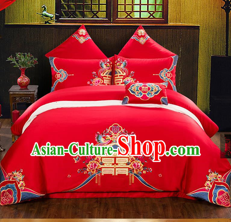 Traditional Chinese Style Wedding Bedding Set, China National Marriage Printing Phoenix Peony Red Textile Bedding Sheet Quilt Cover Seven-piece suit