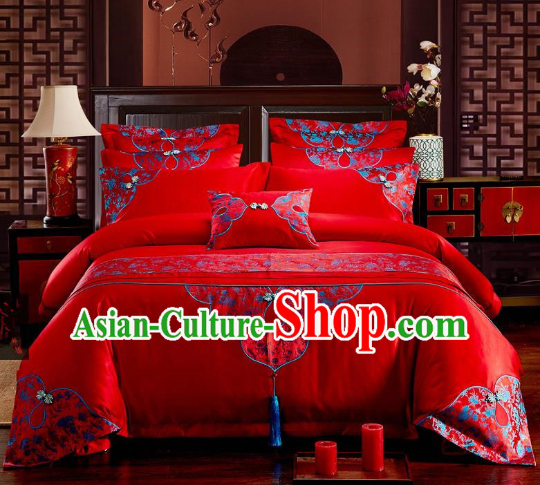 Traditional Chinese Style Marriage Bedding Set, China National Printing Wedding Red Textile Bedding Sheet Quilt Cover Seven-piece suit