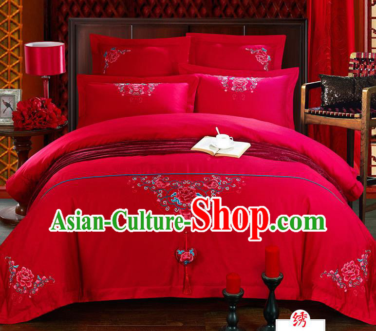 Traditional Chinese Style Marriage Bedding Set, China National Embroidered Peony Wedding Red Textile Bedding Sheet Quilt Cover Four-piece suit