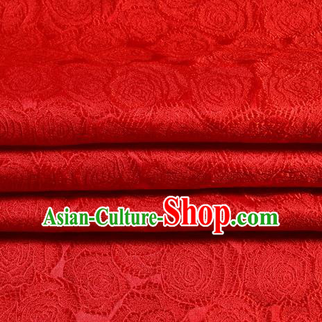 Chinese Traditional Costume Royal Palace Roses Pattern Red Satin Brocade Fabric, Chinese Ancient Clothing Drapery Hanfu Cheongsam Material