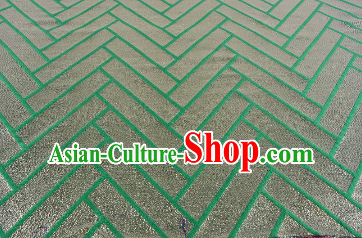 Chinese Traditional Costume Royal Palace Pattern Green Brocade Fabric, Chinese Ancient Clothing Drapery Hanfu Cheongsam Material
